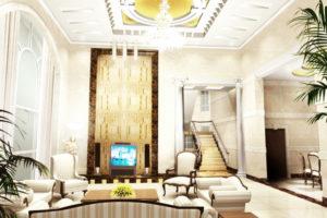 Ruang Tamu Mewah Rumah Minimalis dengan Lampu Mewah 300x200 - Desain Ruang Tamu Paling Modern Dan Mewah