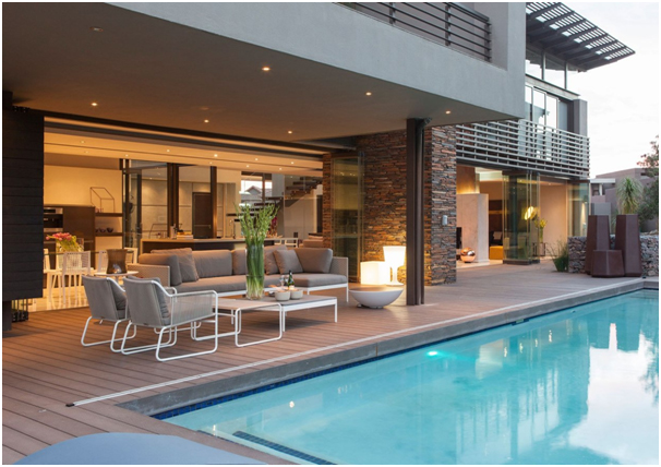 desain kolam renang dengan area bersantai » Pilihan Desain Rumah Mewah 2 Lantai dengan Kolam Renang